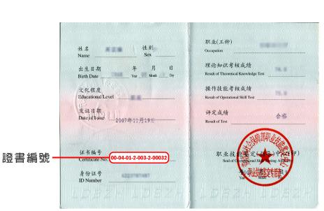 國家職業資格證書編碼